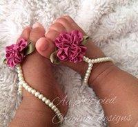 女の子のヘアアクセサリーベビーアンクレットパールフラワーダイヤモンド新生児の足のアクセサリー幼児足首ブレスレットプリンセスB7327