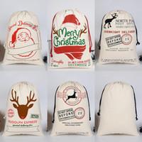 DHL Natal Santa Sacks Canvas Algodão Bags Grande Orgânica Orgânica Sacos de Presente de Draorstring Personalizado Festival Party Christmas Decorações