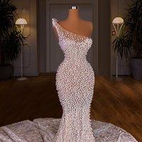 3 디자인 화이트 이브닝 드레스 인어 진주 우아한 댄스 파티 드레스 여성 공식 착용 가운 2021