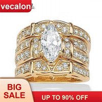 Vecalon Classic Jewelry Marquise Cut 2ct 5A Zircon cz Wedding Band Ring Set for Women 14KT Yellow Gold Filled Enagement ring 210924