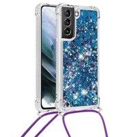 Galaxy S21 Ultra Bling Quicksand İpi Kılıfları Temizle Yumuşak TPU Silikon Darbeye Tampon Kalpler Glitter Parlak Akan Samsung S21Plus Için Sıvı Kapak