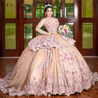 Luxury Ball Gown Long Sleeves Mexican Quinceanera Dresses 2021 Lace Applique Flower Beaded Sweet 15 16 Dress Birthday Party Gowns