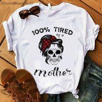 Sciarpa Skull Head Print T manica corta O collo maglietta allentata Donne T-shirt Tops Abbigliamento femminile Camisetas Mujer