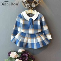 Binbi Bear New Arrivals Winter Baby Girls Clothes Set Christmas Outfits Cotton Kids Plaid Knit Sweater Skirt Fall Clothing Children Costume