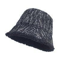 Stingy Brim Hats Fashion Ladies Bucket Hat Winter Warm Soft Stripe Thick Men Women Outdoor Fishing Caps Flat Top Panama
