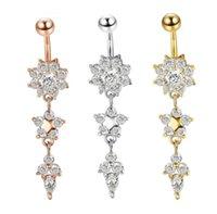 Çan JewelrySexy Dangle Barlar Düğme Göbek CZ Kristal Çiçek Vücut Takı Göbek Piercing Yüzük Mya30 Bırak Teslimat 2021 SVCLX