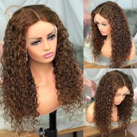 Lace Wigs Frontal Light Brown Curly 13X4 Front Wig Full Density Brazilian Remy Colored Human Hair For Women
