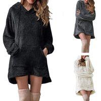 여성 긴 소매 봉제 후드 레이디 가을 겨울 따뜻한 솜털 푹신한 hoody flannel pullover 파자마 느슨한 후드 스웨터 탑 여성