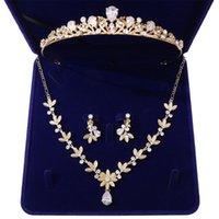 Серьги Ожерелье Роскошные Кристаллические Жемчужные Лист Свадебные Ювелирные Изделия Набор для Невесты Африканские Бусины Горный Горный Хортуз Корона Tiaras
