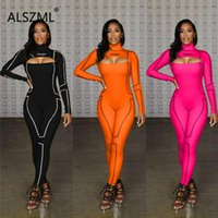 Women's Jumpsuits & Rompers Sexy Women Fashion O Neck Long Sleeve Skinny Tight Club Party Lady Sheath Bodysuits