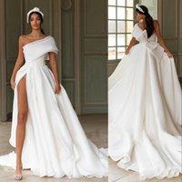 2021 мода сексуальное одно плечо линия свадебные платья свадьбы свадебные платья поездов кружевные аппликации кантри пляж Vestido de Novia High Split Organza