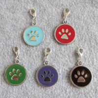 Círculo PAW Design Aleación de zinc Aleación de mascotas Etiquetas de identificación Pendientes para perros pequeños Gatos