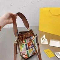 Handtasche Fend F Farbe Stickerei Baumwolle Leinen Leinwand mit Leder Brief Mini Französisch Stick Eimer Tragbare Eine Schulter Messenger Bag Zly 3ADG