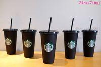Starbucks 24oz 710ml Plastic Tumbler Reusable Black Drinking Flat Bottom Cups Pillar Shape Lid Straw Mugs Free DHL