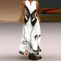 Women fashion dress White Casual Plus Size Sleeveless Long Summer Woman Butterfly Print Girls Beach vestido dresses 3J5D