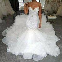 Elegant V neck crystal Mermaid Wedding Dresses Ruffles Sweep Train Bridal Gowns