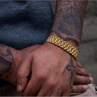 Luxury bracelet Gold Stainless Steel Bracelet 220mm Wristband Men Jewelry Bracelets Bangles Gift for Him Wristband men