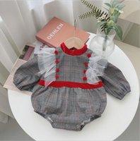 Rompers 2021 Boys Girls Plaid Cotton Full Sleeve Autumn Babys Jumpsuit