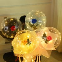 Party Decoration LED Rose Flower Balloon Set Luminous Artificial Bouquet Clear Bobo Ball Balloons Kit For Valentines Wedding Decors