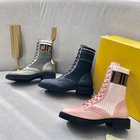 2021 Botas Rockoko Tricotadas Esticão Martin Black Leather Cavaleiro Mulheres Curto Boot Design Sapatos Casuais Tamanho35 40 A2