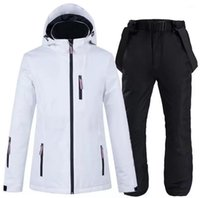 Skiing Suits Ski Suit Men And Women White Windproof Waterproof Set Thickened Warm Couple Snowboarding Jacket Pants Two Piece Suit1