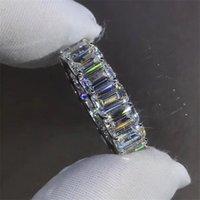 Eternity Full Emerald cut Lab Diamond Ring 925 sterling silver Bijou Engagement Wedding band Rings for Women men Charm Jewelry