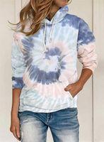 Women's Hoodies & Sweatshirts Women Tie Dye Casual Loose Hooded Top Lady Spring Autumn Long Sleeve Girls Pullover Streetwear