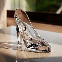 Кристаллические Обувь Стеклянная тапочка подарок на день рождения Домашний декор Золушка на высоком каблуке обувь свадебные туфли фигурки миниатюрные украшения 683 V2