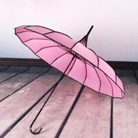 Paraguas 16k mango largo asa recta paraguas nupcial boda al aire libre parasol lluvia y sol ribete de doble propósito pagoda