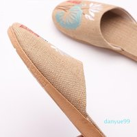 Summer Casual Slides Women Men Flax Slippers Chinese Embroidery Flowers Platform Sandals Flip Flops Lovers Indoor Shoes1