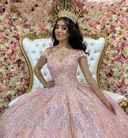 Sparkly Pink Sweet 16 Ball Gown Quinceañera Dresses Beaded Sequins Sleeveless Vestido De 15 Anos Quinceanera 2021