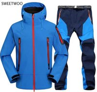 Outdoor Jackets&Hoodies 2pc Mens Waterproof Hiking Suits Softshell Fleece Jackets And Pants Camp Coat Set Climb Skiing Trousers