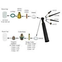 TIG لحام الغاز عدسة كوليت الجسم # 4 ~ # 12 بييركس كوب كيت DB SR WP 9 20 25 الشعلة 39pcs