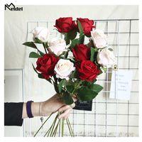 Meldel 1 Pc Fake Flowers Flannelette Rose For Home Wedding Decor Artificial Flower Branch Room Vase Luxury Decorative & Wreaths