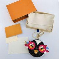 21 Style Cute Owl Keychains Designer Animal Fur Chick Car Keyring Chain Charms Leather Coin Cards Keys Holder Purse Zipper Pocket Bag