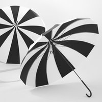 Творческий дизайн черно-белый полосатый гольф зонтик с длинным ручкой прямой пагода зонтик hwd8720