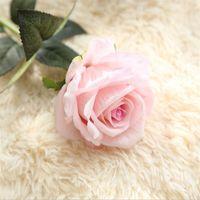10pcs / lot 웨딩 장식 진짜 터치 소재 인공 꽃 장미 꽃다발 홈 파티 가짜 실크 단일 줄기 꽃 꽃 무늬 2177 v2