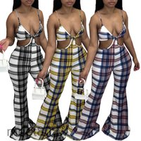 Vente chaude 2021 Femmes Combinaisons de la Femme Col V Été Été Mode Femme Plaid d'imprimerie Lâche Pantalon de haut-parleur Pantalons décontractés