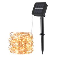 OmaiLighting Solar String Lights, 33ft100 LED Warm White Outdoor Copper Wire Light, 8 Modes IP65 Waterproof Fairy Lamp, 600mAh for Patio, Garden, Gate, Yard, Party, Wedding