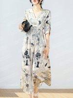 2021 Designer Kleid Französisch Retro Ölmalerei Stil V-Ausschnitt Chiffon Fünf-Punkt-Ärmel A-Line-lange Rock
