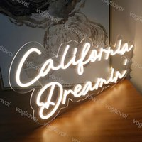 Led Neon Sign Custom California Dreamin Model With Transparent Backplane AC100-240V UK EU US AU Plug For Signature Bar Shop Wedding Decoration Birthday Gift DHL
