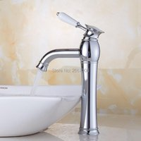 Bathroom Sink Faucets Gizero High Polished Ceramic Handle Vanity Mixer Tap Tall Type & Cold Basin Faucet Chrome ZR638T
