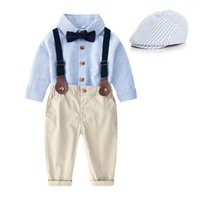 Boys Clothing Sets Baby Suits Children Outfit Kids Clothes Spring Autumn Long Sleeve Striped Shirts Suspenders Trousers Pants Gentleman Hat 3Pcs B7270