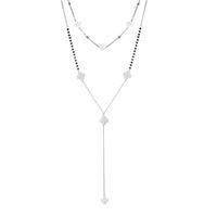 Stainlsteel Doppelschicht Lange Kette Halskette Für Frauen Kleine Vier Blatt Klee Choker Lange Halskette Party Trendy Schmuck 2019 Y0528