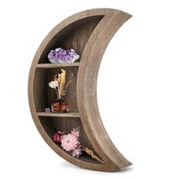 Floating Moon Wall Shelf, Wandmontiertes Drei-Schicht-Regal, dekorative Holzregale für Kinder Schlafzimmer, Küchenzeile Küche