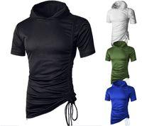 Novo estilo moda quente moda masculino macaco sólido com chapéu de algodão camiseta casual string irregular tees tops