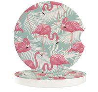 Table Runner Flamingos Tropical Plants Small Round Ceramic Car Coasters Set For Drinks Coffee Tea Beverage Cup Holder