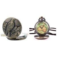 Pocket Watches Australia Map Watch Analog Quartz Bronze Chain Unisex & Eagle Embossed Necklace