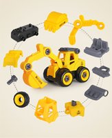 Diecast Model Cars toys Disassembly and assembly engineering vehicle Puzzle DIY detachable Sliding Excavator Mixer children gift
