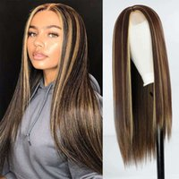 wigs Brown Mixed Blonde Long Right Prussia Middle Straight with Highlights for Women Lace Front Synthetic